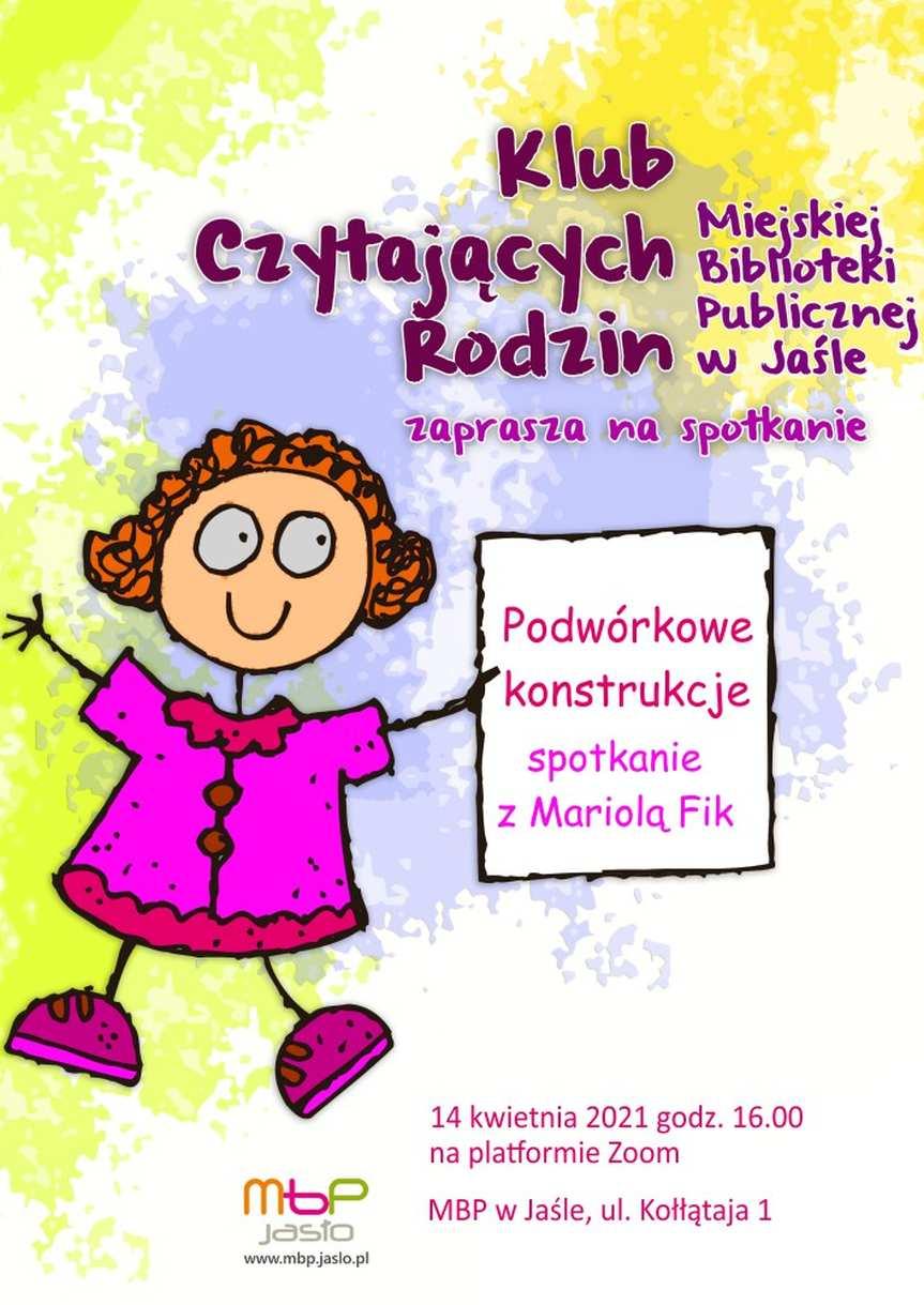 Miejska Biblioteka Publiczna w Jaśle. Spotkanie on-line z Mariolą Fik
