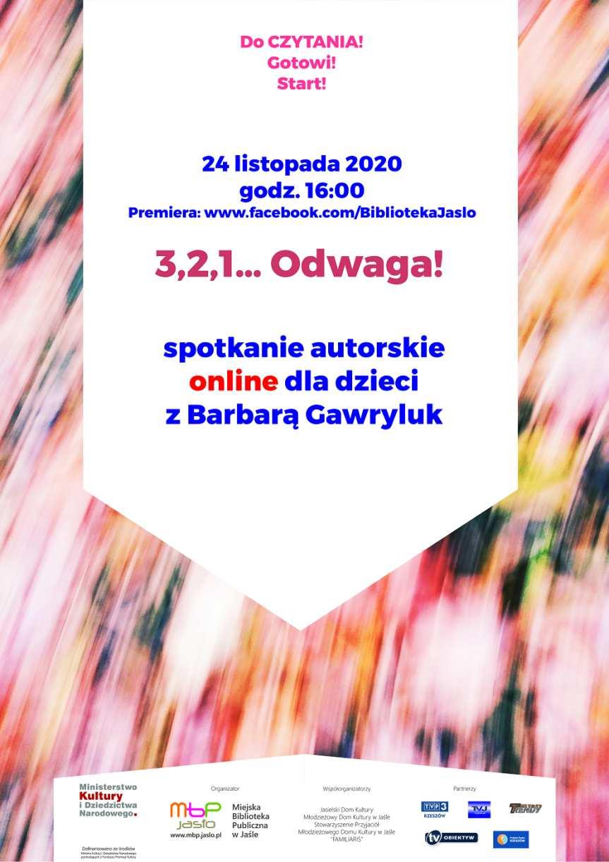 Miejska Biblioteka Publiczna w Jaśle. Spotkanie online z Barbarą Gawryluk
